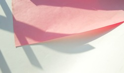 Pink color curved paper mockup on white background. Creative paper mockup with shadow overlay effect with geometric pattern.
