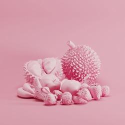 Pink color Mixfruit monotone on pastel pink background. minimal fruit idea concept.