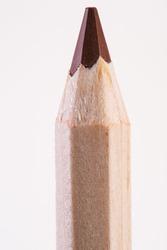 pink color pencil vertically. close up. macro