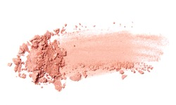 pink coral eyeshadow and blush trace isolated on white background