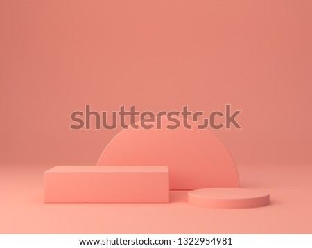 Pink coral shapes on a coral abstract background. Two minimal boxes and a cylinder podium.Scene with geometrical forms. Empty showcase for cosmetic product presentation. Fashion magazine. 3d render.