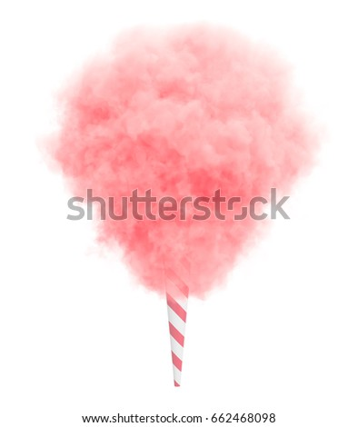 Pink cotton candy on a striped stick isolated on white background.