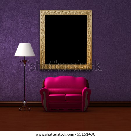 Pink couch and standard lamp with picture frame in purple minimalist interior