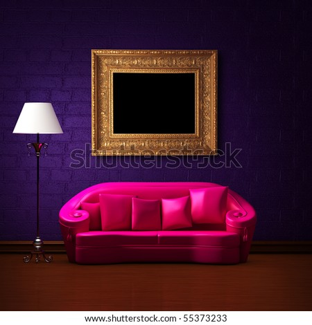 Pink couch with empty frame and standard lamp in dark purple minimalist interior