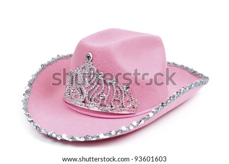 Pink cowboy hat with tiara on white background, clipping path included