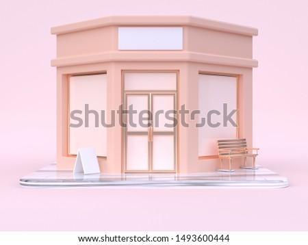pink cream building store cartoon style 3d rendering