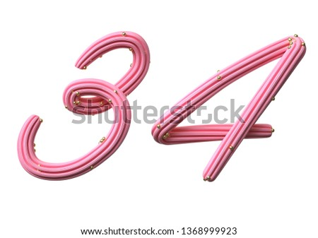 Pink cream candy Font Isolated on White Background, 3d rendering,conceptual image. #1368999923