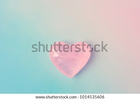 Pink Crystal Quartz Heart on Gradient Pastel Color Blue Magenta Background. Romantic Valentines Mother's Day Charity Concept. Greeting Card Poster Template. Website Banner. Copy Space #1014535606