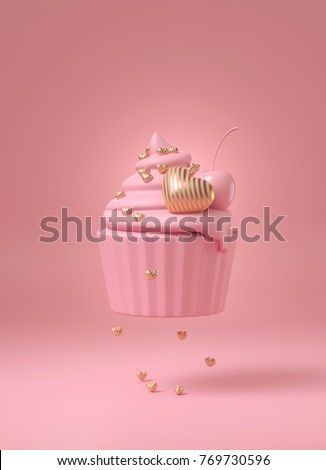 Pink cup cake with luxury stripe gold heart and pink cherry to express sweetness of love. pink sweet dessert on pink background