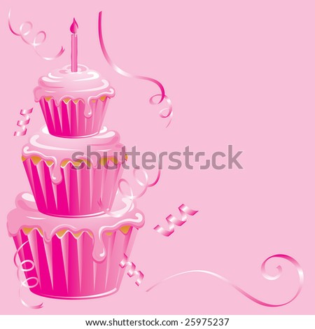 Pink cupcake surprise birthday on pink background