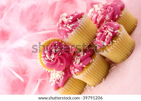 Pink Cupcakes for Breast Cancer Awareness Month, horizontal with copy space