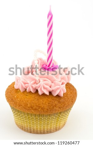 pink cupcakes with birthday candle