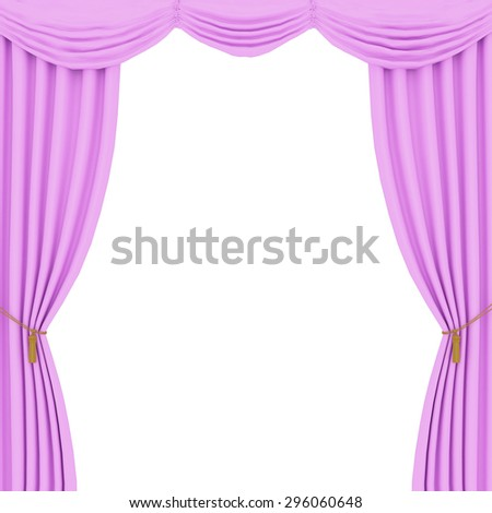 Pink Curtains On A Black Background 296060648