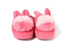 Pink Cute warm fluffy children Bunny Slippers isolated on white background