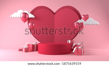 pink cylinder podium in valentines background. decor by heart, gift boxes, balloon. concept scene stage showcase, product, love, promotion sale,  presentation, wedding. 3D render