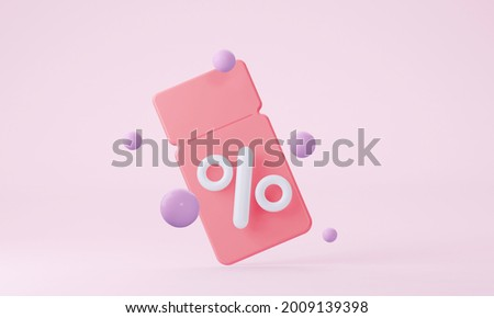 Pink 3D coupon with interest on various discounts and sales of goods and online movie tickets. 3d Rendering