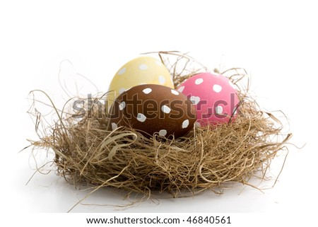 Pink decorated easter egg isolated on white