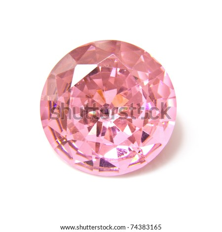 Pink diamond stone isolated on a white studio background.