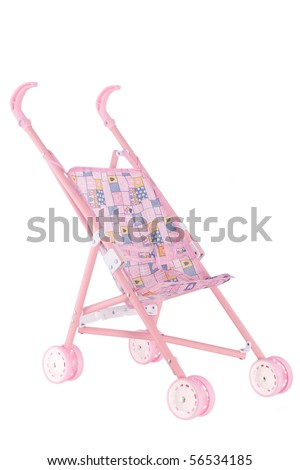 pink doll pram with wheels on white background