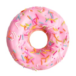 Pink donut decorated with colorful sprinkles isolated on white background. Flat lay. Top view
