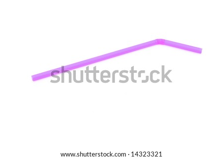 pink drinking straw isolated against white background #14323321