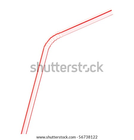 Pink drinking straw isolated against white background