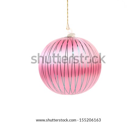 Pink dull christmas ball. Isolated on a white background.