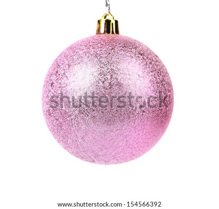 Pink dull christmas ball on a white background