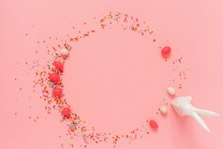 Pink easter background. Top view, flat lay, copy space.