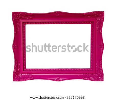 Pink empty picture frame isolated on white background