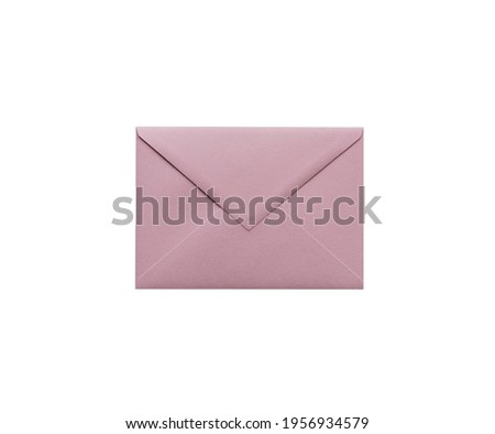 Pink envelope on a white isolated background. Place for text Stock photo ©
