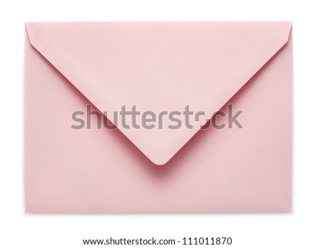pink envelope on white background
