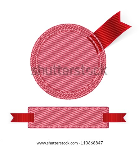 Pink fabric badges with red ribbons - raster version