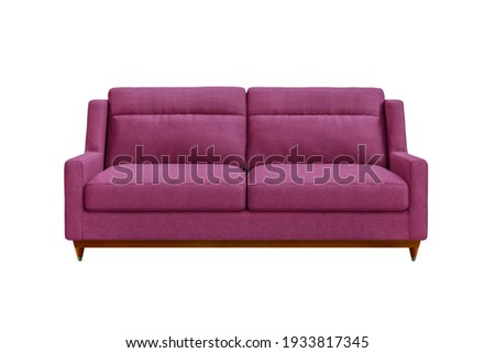 Pink fabric sofa on wooden legs isolated on white background. Series of furniture Foto stock ©