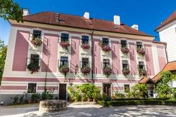 Pink Facade Of Trebon Castle - Trebon, Czech Republic, Europe