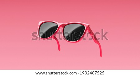 Pink fashion sunglasses and black lens optic on summer object background with modern accessory design. 3D rendering.