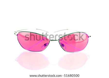 "Pink ""fashion sunglasses"" on white with reflections"