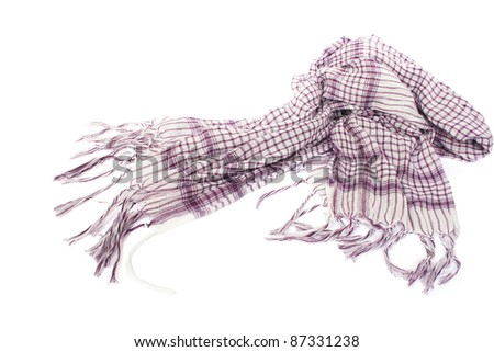 Pink female scarf isolated on white background.