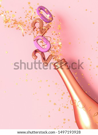 Pink festive background, golden bottle, flying tinsel, confetti, stars, 3D rendering, sparkling numbers 2020, happy new year.