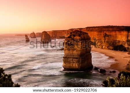 Pink filter, soft focus. Twelve Apostles Sea Rocks near Great Ocean Road , Port Campbell National Park, Australia Stock photo ©