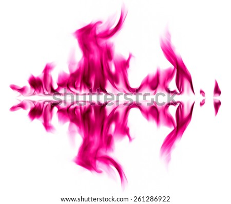 Pink fire light smoke abstract shapes on white background