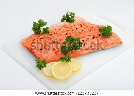 Pink Fish Fillet, Lemon And Parsley