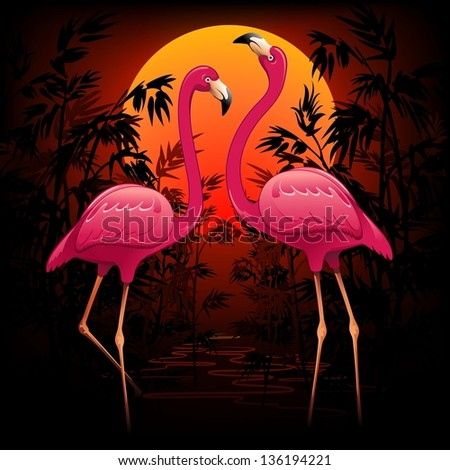 Stock Photo Pink Flamingos on Tropical Peaceful Sunset