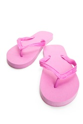 Pink flip flop sandal with white background