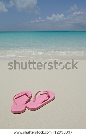 Pink flip flops in Turks and Caicos