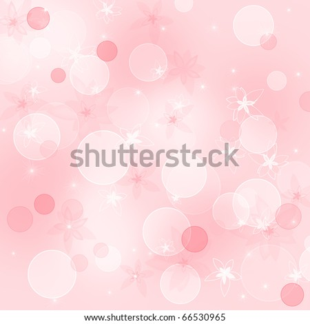 Pink floral background with flowers and bubbles