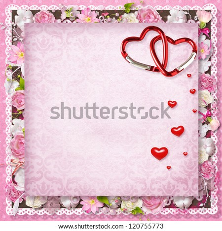 pink floral greeting card with hearts for Valentine's Day