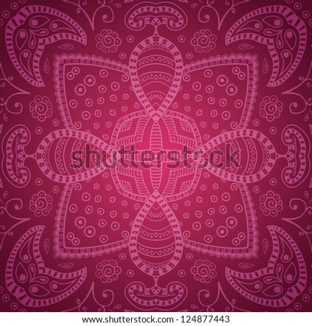 Pink floral ornaments in hand drawn style. Abstract background. Raster version.
