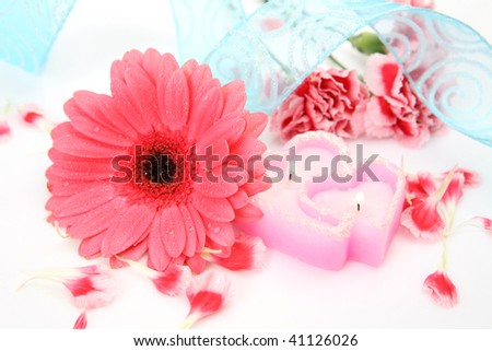 Pink flower and candle #41126026