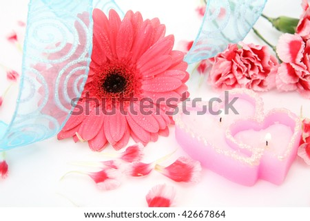 Pink flower and candle #42667864
